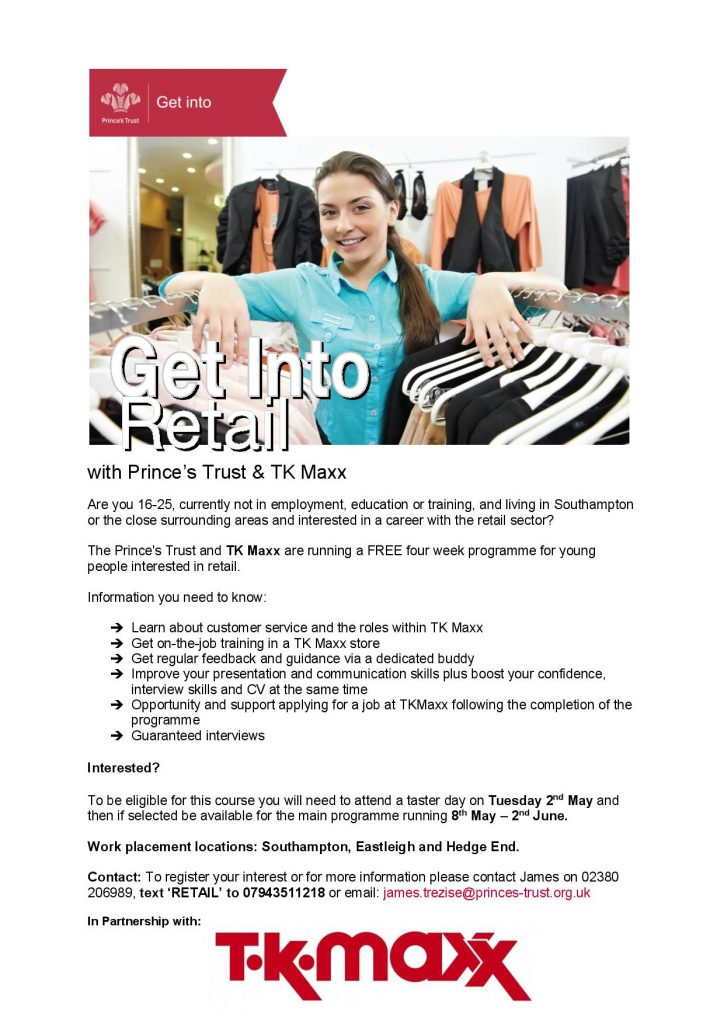 Get Into Retail With Prince S Trust And Tk Maxx